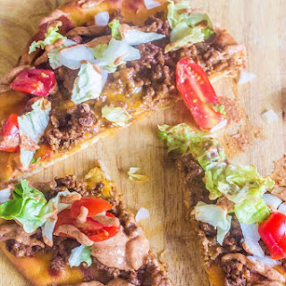Grilled Flatbread Taco Pizza with Creamy Taco Sauce.
