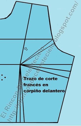 Trazo inicial de corte francés en corpiño delantero