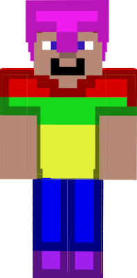 this is the minecraft charecter steve but whearing armour that is not in minecraft or should i say rainbow armour