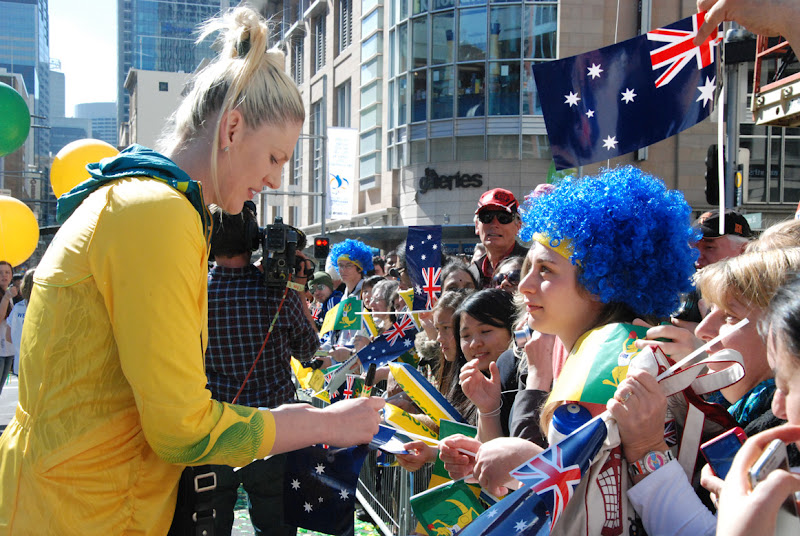 Photo: Lauren Jackson signing autographs at the 2012 Australian Olympic Team welcome home celebrations in Sydney.
