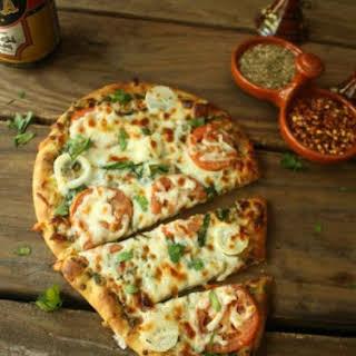 Spinach Kale Basil Pesto Flatbread Pizza.