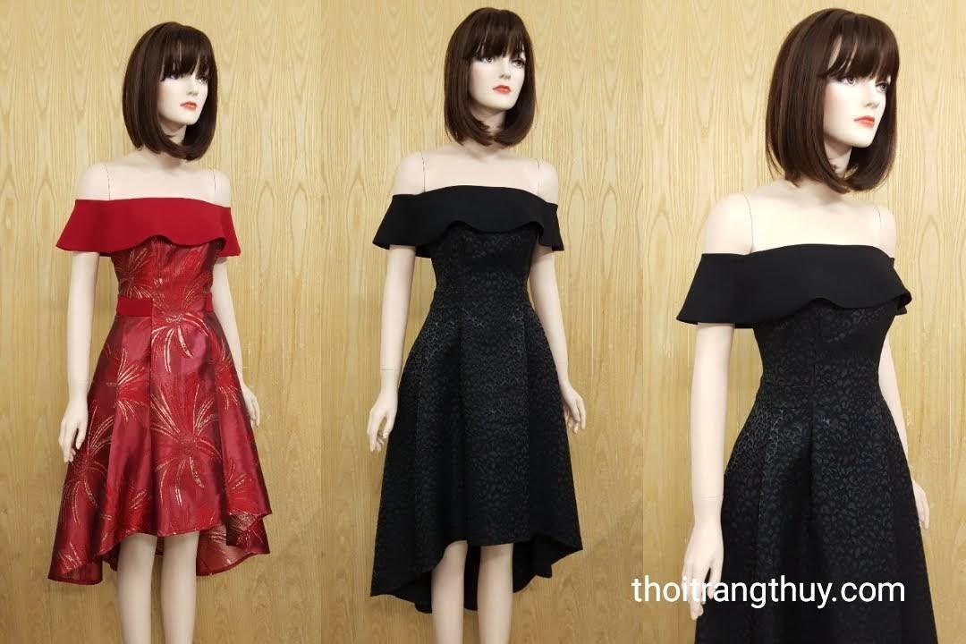 Váy dự tiệc hở vai dáng xòe đuôi cá V518 Thời Trang Thủy