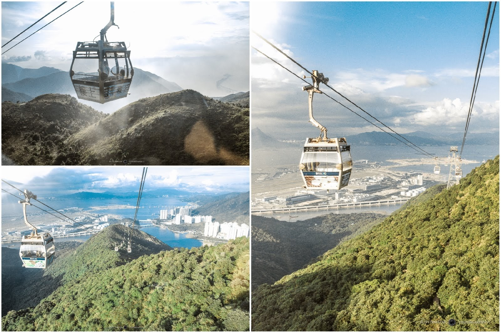 搭乘昂坪纜車20分鐘的車程可以體驗上山下海的香港景色。