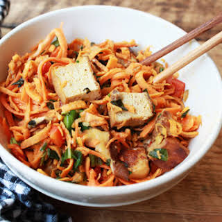 Sweet Potato Noodles with Tofu & Spicy Peanut Sauce.