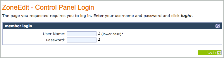 Control Panel Login fields