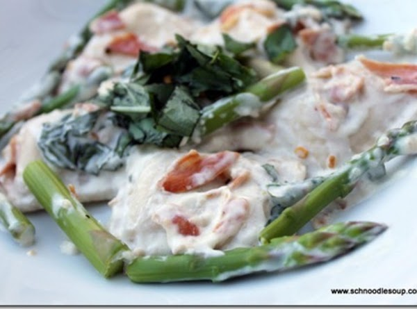 Ravioli, Pancetta & Asparagus In Basil Cream Sauce Recipe