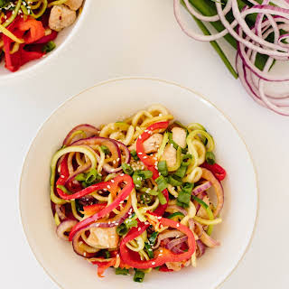 Spicy Sesame Ginger Chicken Stir Fry with Zucchini Noodles.