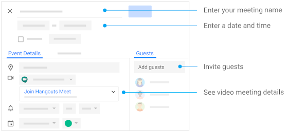 Create events: name the meeting, enter date and time, invite guests, and manage details