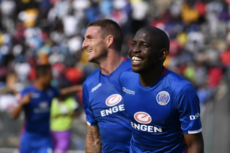 Aubrey Modiba of SuperSport United celebrates scoring a goal with .James Keene during the Absa Premiership match between SuperSport United and Black Leopards at Lucas Moripe Stadium on September 23, 2018 in Pretoria, South Africa.