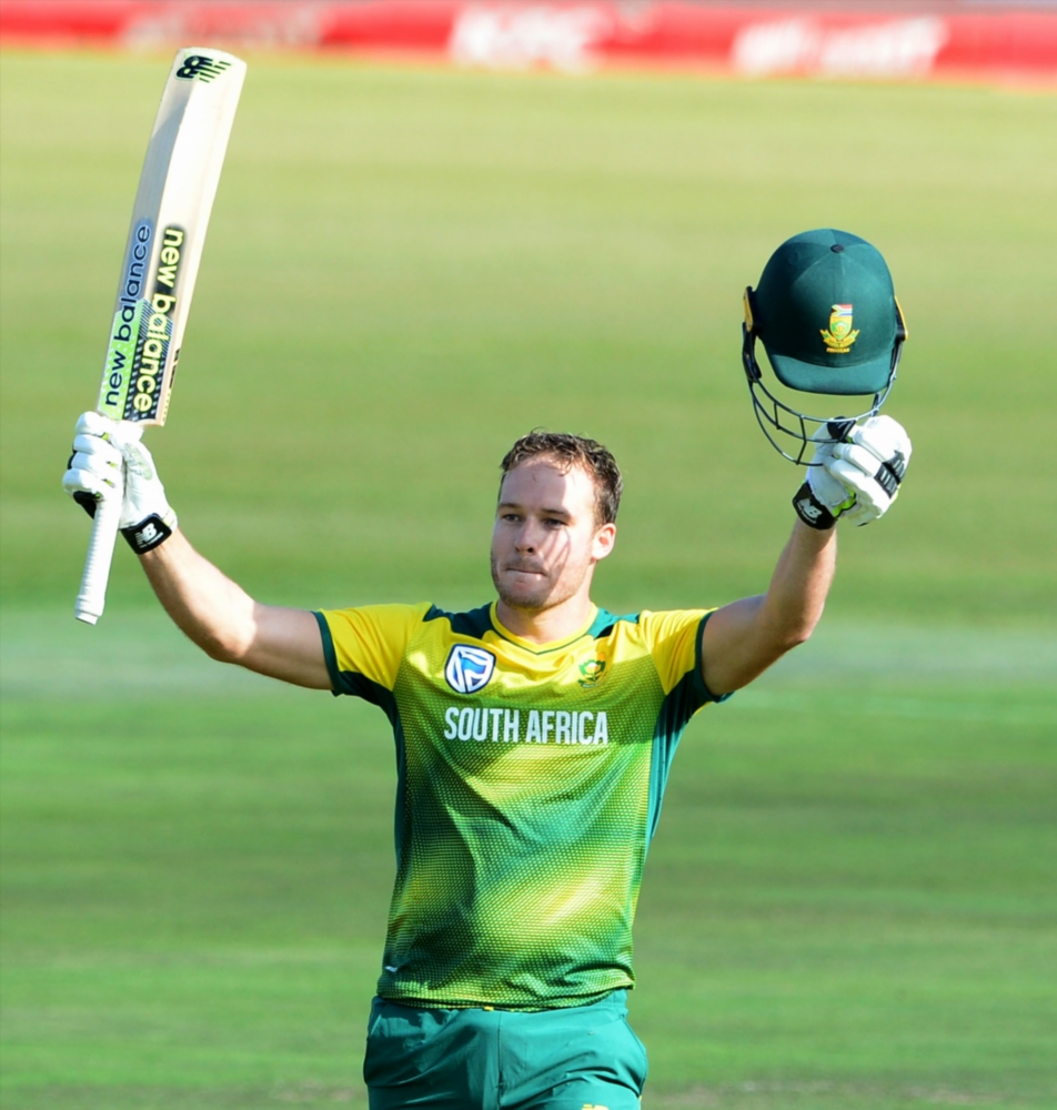 David Miller of the Proteas celebrates his 100 runs during the 2nd KFC T20 match between South Africa and Bangladesh at Senwes Park on October 29, 2017 in Potchefstroom.