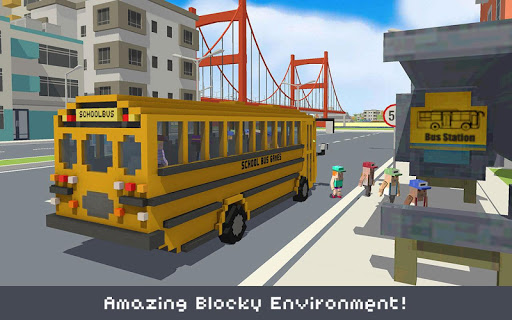 Blocky School Bus Simulator Craft 1.4 screenshots 4
