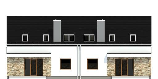 Sosnówka bez garażu bliźniak B-BL1 - Elewacja tylna