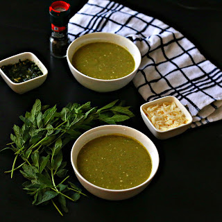 Arugula Yogurt Soup with Mint Pesto