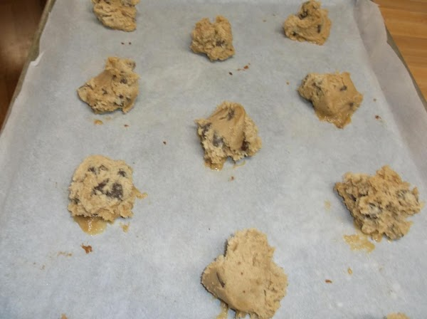 Drop by rounded tablespoon onto ungreased baking sheets (I line mine with parchment paper.)