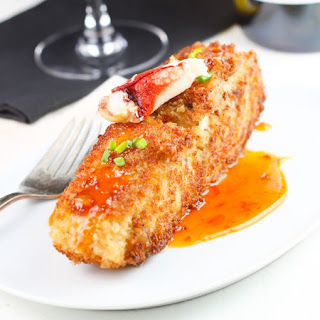 Crab Encrusted Halibut with Sweet Chili Sauce.