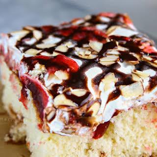 Raspberry Cream Poke Cake.