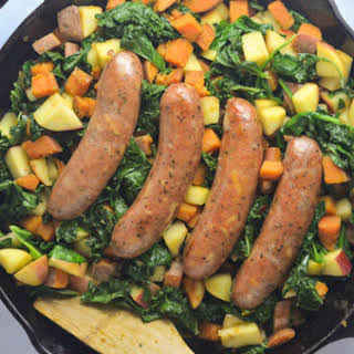 One Skillet Sweet Potato, Kale, Apple Chicken Sausage (Gluten Free, Dairy Free, Whole 30).