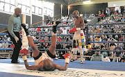 A file photo of Loyiso Velleman from Border Post after he sent Nasiphi Ndlangazi of Mdantsane crashing to the canvas during their junior bantamweight six-rounder.  The match was handled by Allan Matakane.