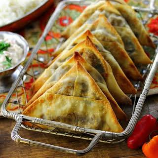 Spicy Vegetarian Lentil Samosas.