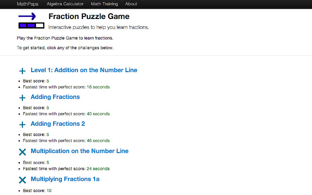 Fraction Puzzle Game