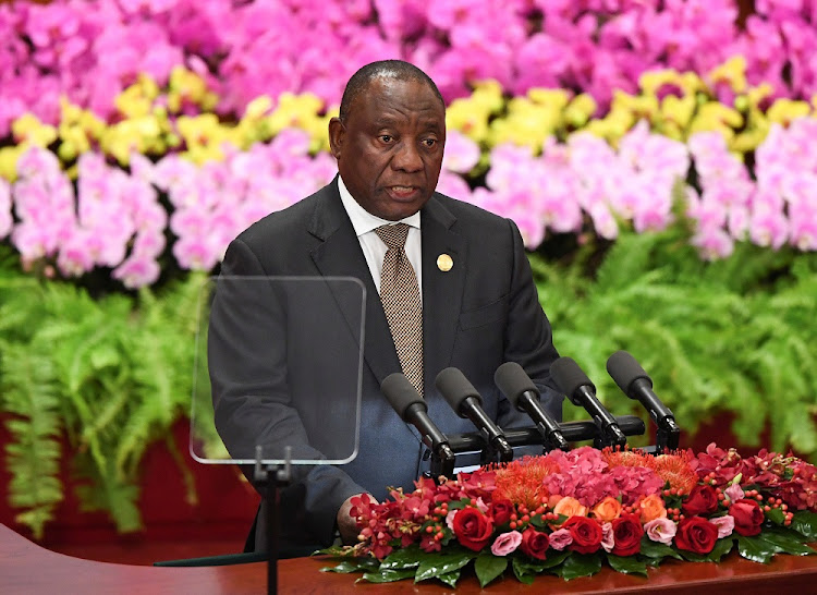 President Cyril Ramaphosa gives a speech during the opening ceremony of the Forum on China-Africa Co-operation at the Great Hall of the People in Beijing, China, September 3 2018. Picture: REUTERS
