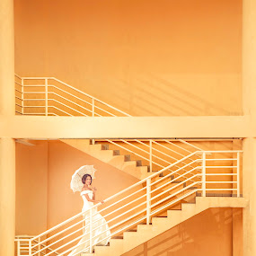 Walking up to meet you. by Emest Freezo - Wedding Bride ( wedding photography, wedding gown, wedding, umbrella, white, bride )