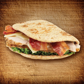 Turkey, Swiss and Bacon Foldit® Flatbread Sandwich.