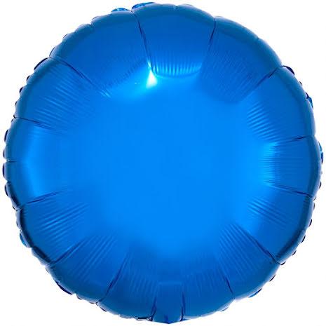 Folieballong, rund metallic blå 43 cm