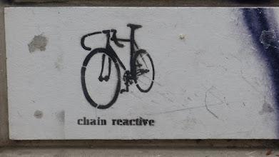 """Photo: Stencil; Unknown Artist; """"chain reactive"""""""