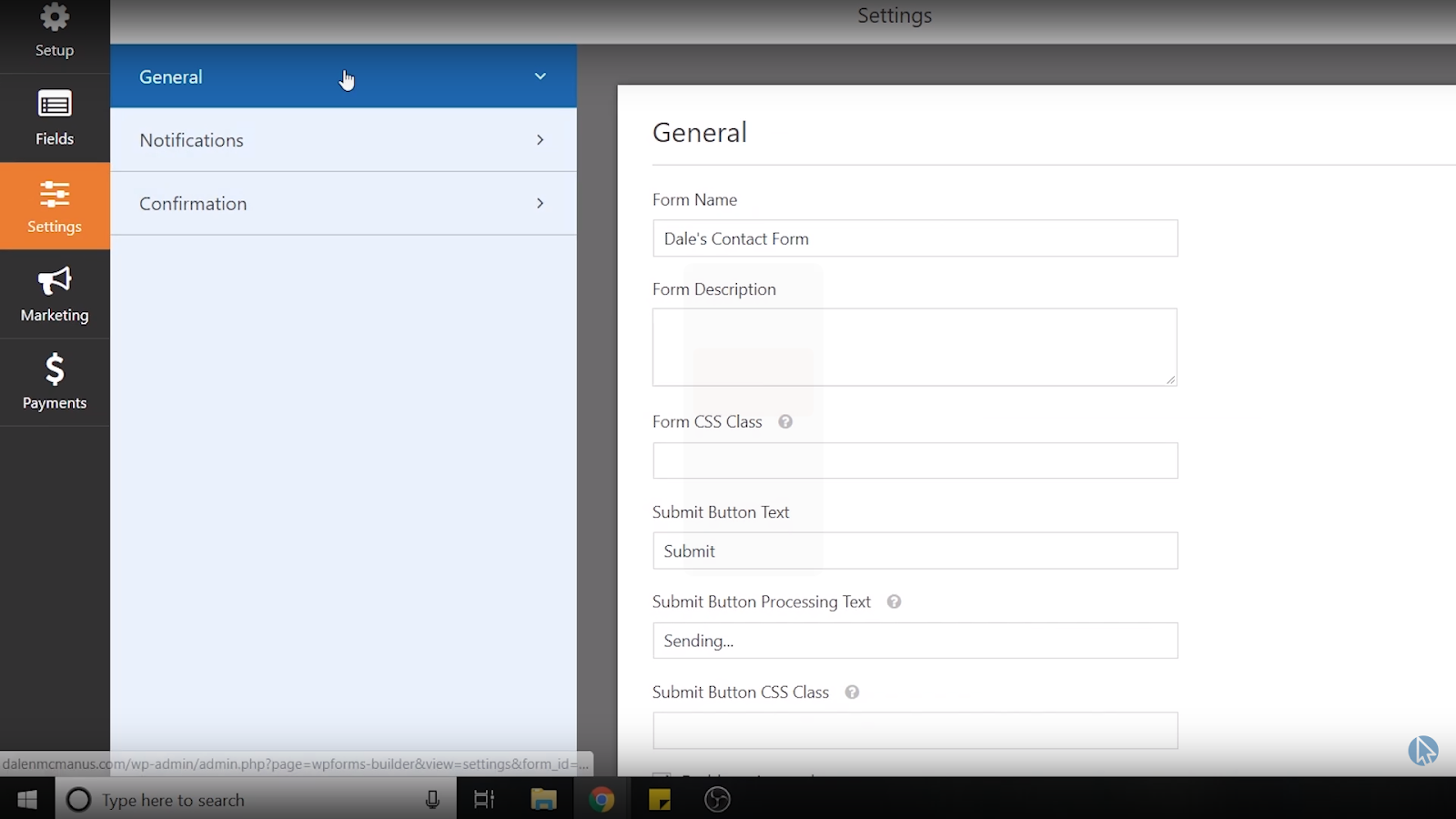 wpforms wordpress contact form general settings