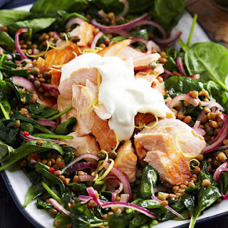 Warm Spinach, Lentil and Salmon Salad.