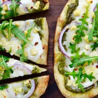 Grilled Flatbread Pizzas with Avocado Pesto.