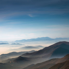 The mountain waves by Branko Balaško - Landscapes Mountains & Hills ( sky, mountain, church, fog, autumn, forest,  )