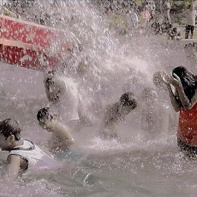 Water Park Fun   Splash  by Dody Isnanto - People Family