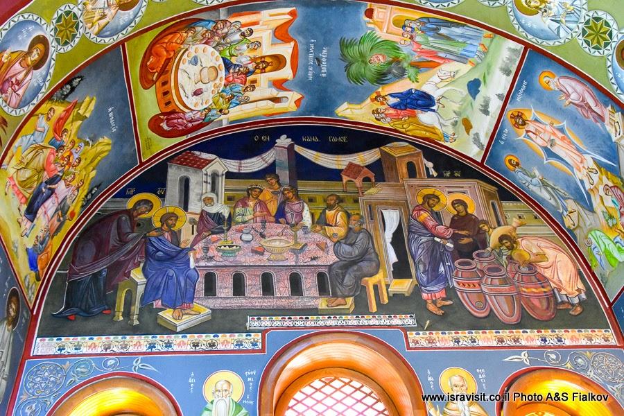 Фрески в православной церкви в Кане Галилейской. Первое чудо Иисуса. Экскурсии в Израиле.