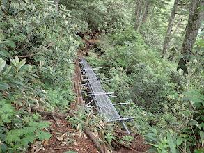 木橋の代わりにパイプ足場