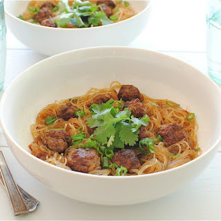 Asian-Spiced Mini Meatballs Over Vermicelli Noodles.