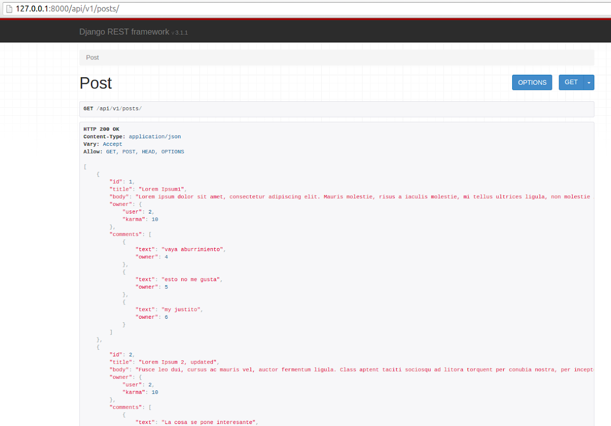 API posts
