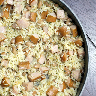 Skillet Rice and Beans with Kielbasa.