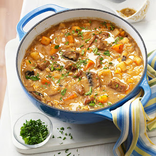 Beef Barley Soup with Roasted Vegetables.
