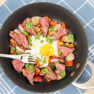 Steak & egg breakfast skillet with sauteed radishes, carrots & radish green pesto #SundaySupper.