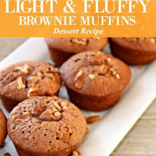 Light and Fluffy Chocolate Brownie Muffins.