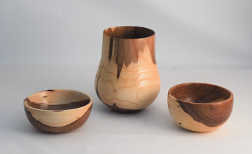 "Photo: Ed Karch 7"" x 4"" 3 bowl group [hybrid elm]"
