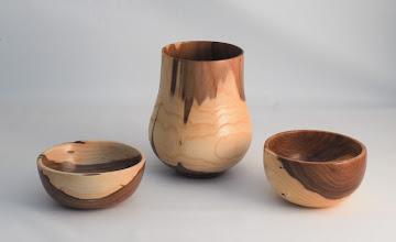 "Photo: Ed Karch 7"" x 4"" 3 bowl group [hybrid elm]"