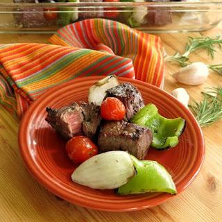 Steak Shish Kabobs in Red Wine Marinade.