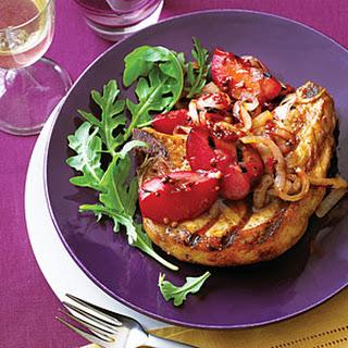 Grilled Pork Chops with Plum Chutney.