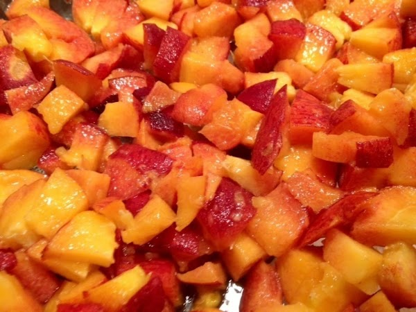 Chop peaches and plums.