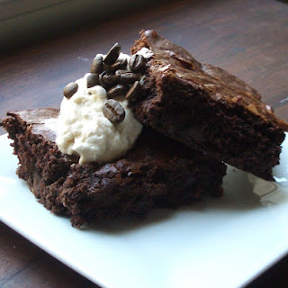 Fudge-y Brownies with Coffee Whipped Cream