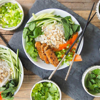 Vegan Vietnamese Rice Noodle Salad with Sesame Tempeh
