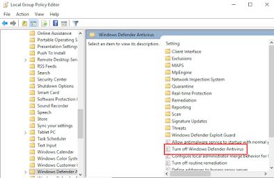 Turn off Windows Defender Antivirus policy